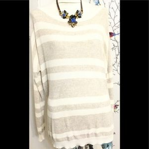 Brandy Melville Ivory Beige Striped Knit Sweater